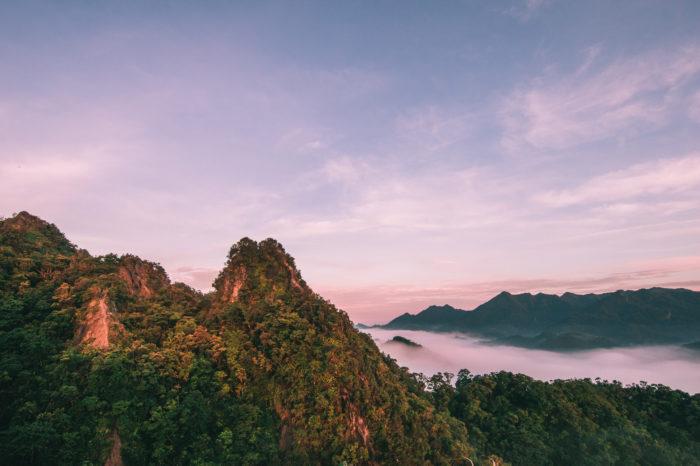 Views from Xiaozi Mountain on Cimu and Putou Mountains, Pingxi